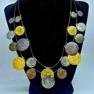 """Chico's Necklace  Coin Metal  Lobster Clasp  16"""""""